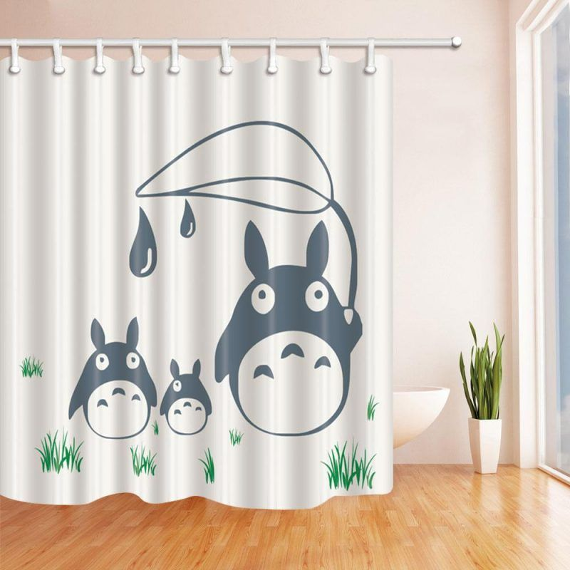 Cartoon Totoro White Home Shower Curtain At Curtains Shower