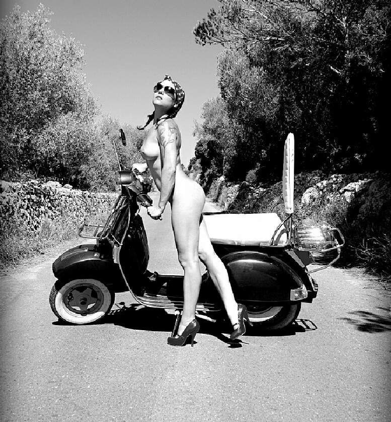 Exclusively nude women on scooters