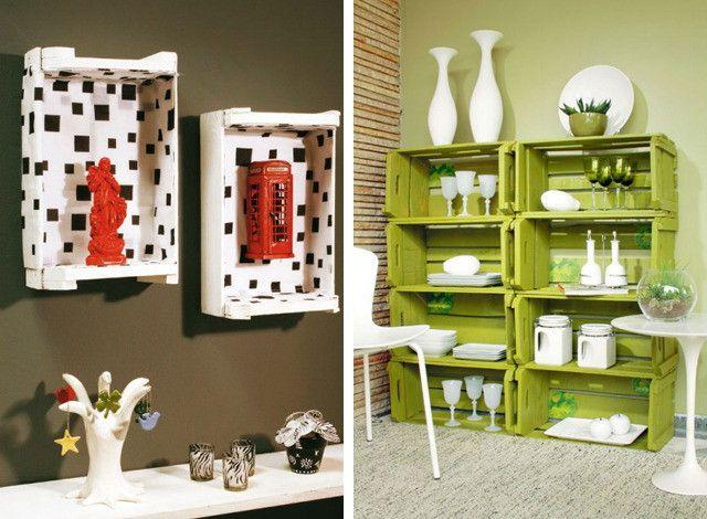 Móveis rústicos de pallet e caixotes para decorar o ambiente da sua casa.