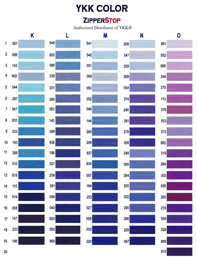 Ykk Colors Page 3 Inspiration Pinterest Chart