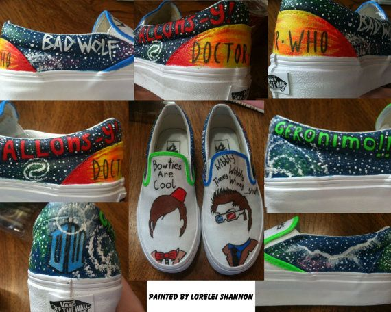 Doctor Who Custom Painted Shoes. $75.00, via Etsy.