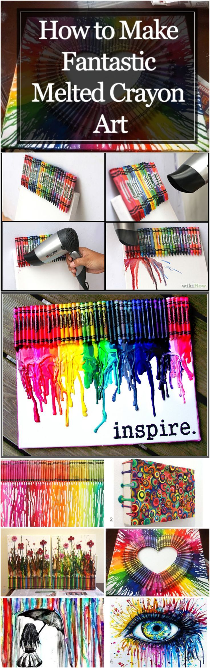 How to make fantastic melted crayon art crayon art for How to melt crayons on canvas