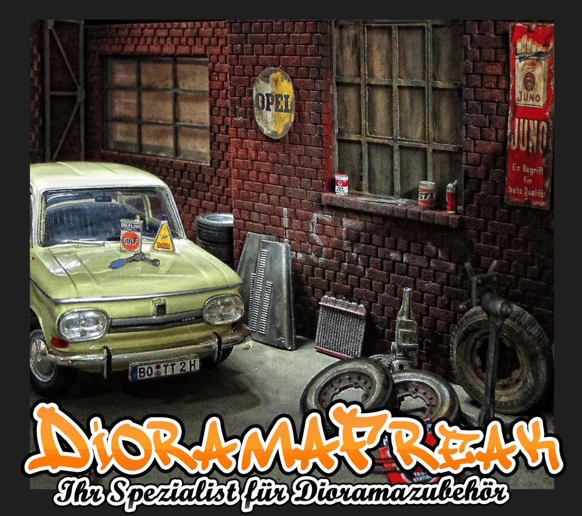 DioramaFreak Modellbau Modellauto Werkstatt Industrie Halle Garage Strasse  Hauswand Ziegestein Platte Fenster Diorama Deko Zubehör 1/18