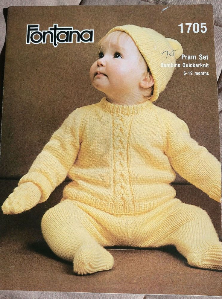 Baby Pram Set Fontana 1705 vintage knitting pattern 6 ply ...