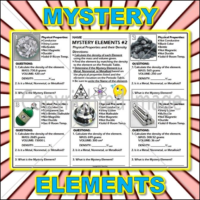 Worksheet Mystery Elements and Their Density Version 2 – Metals and Nonmetals Worksheet