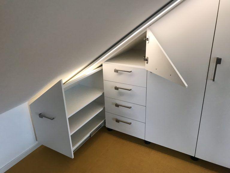 Dachschragenschrank Ausziehbar Mit Lichtbaldachin Led Dimmbar Schrank Dachschrage Dachschragenschrank Einbauschrank