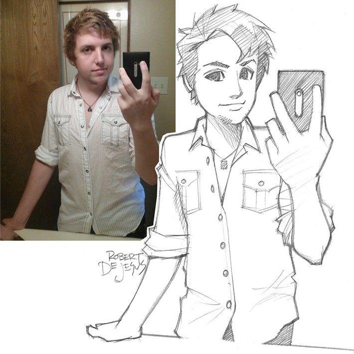 Robert Dejesus Turns Photos Into Anime Characters Photo To Cartoon Cartoon Sketches Portrait Cartoon