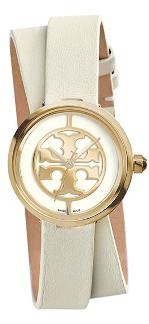 pretty leather strap double wrap watch