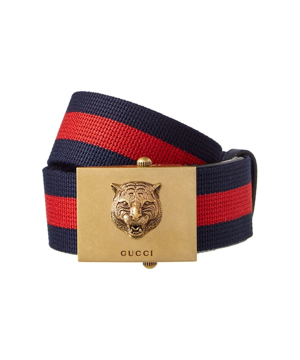 93ae31d45 GUCCI Gucci Canvas Web Belt With Feline Head'. #gucci #belts | Gucci ...