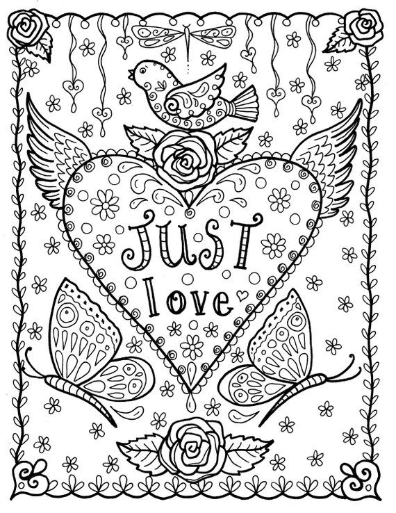 Coloring Book For Adult. Hearts And Flowers. Valentines Day Stock ... | 738x570