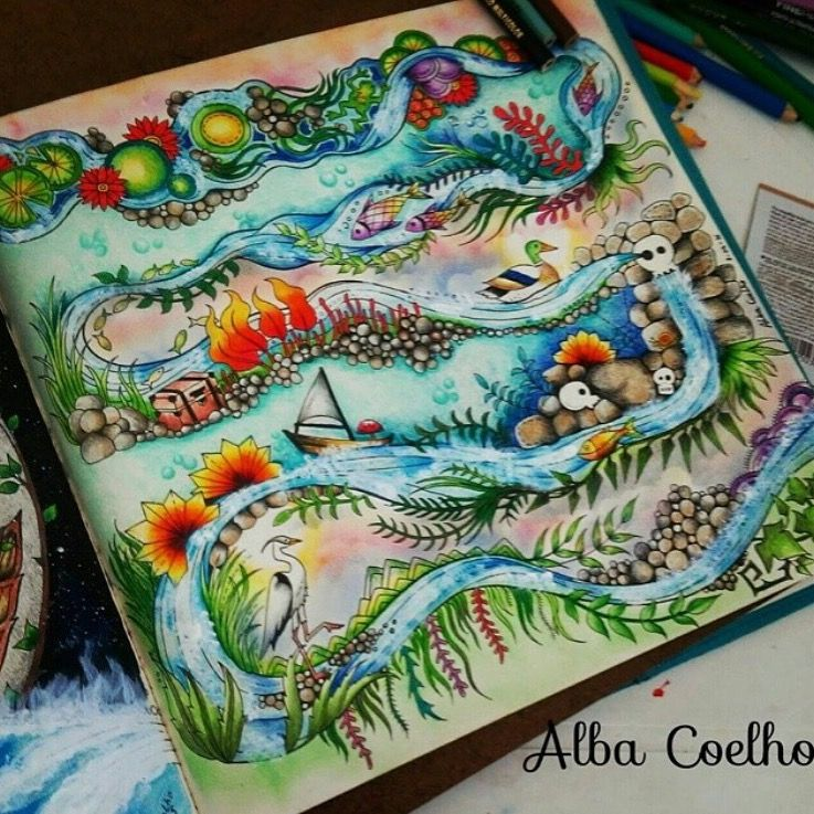 - River Enchanted Forest Enchanted Forest Coloring, Enchanted Forest  Coloring Book, Johanna Basford Enchanted Forest