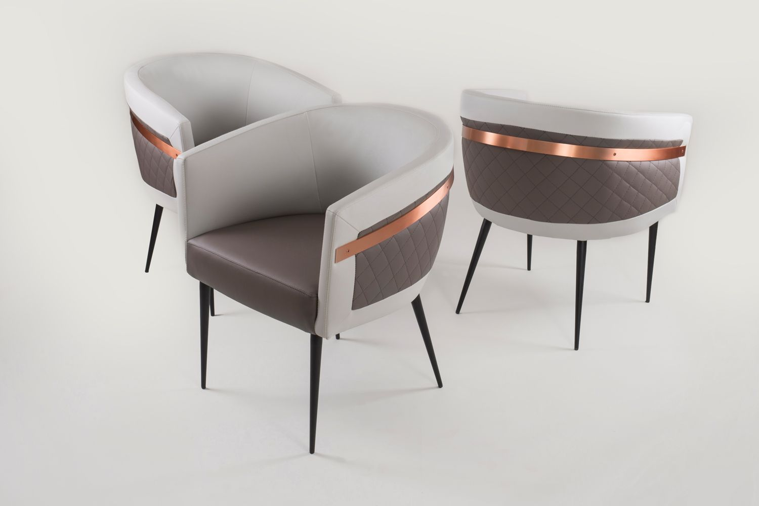 Contemporary restaurant chairs with full upholstery and copper ...