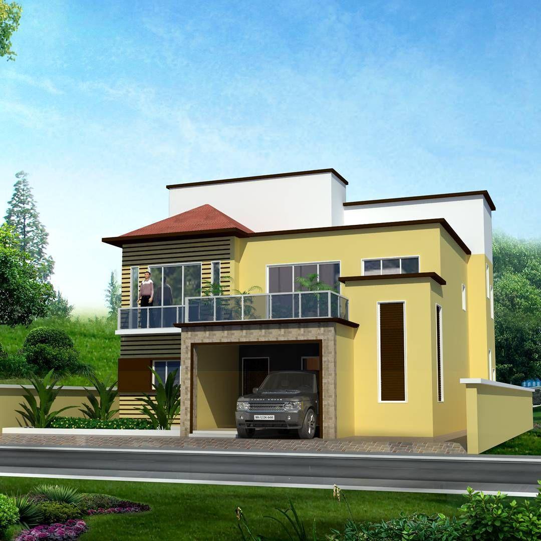 Bungalow 3d Rendering Contemporary Bungalow Rendering: Bungalow Elevation Design #3dsmax #3d #architectural