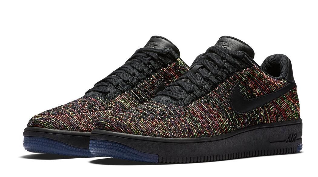 Nike Air Force 1 Ultra Flyknit Low Color:Black Bright Crimson Court Purple  Multicolor Style