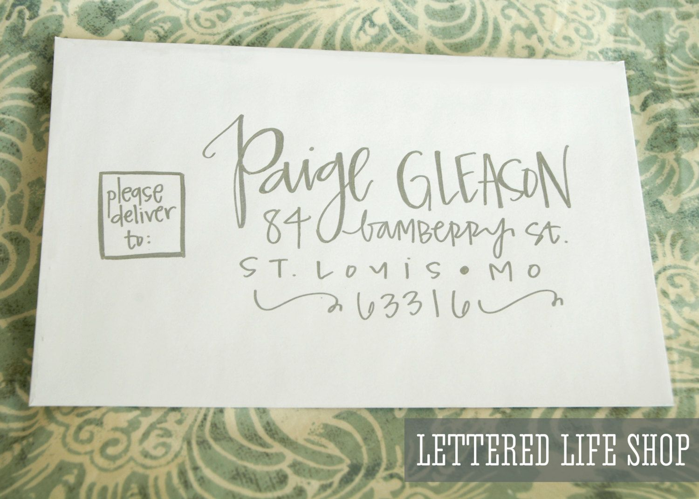 Wedding Calligraphy Envelope Addressing Silver Modern