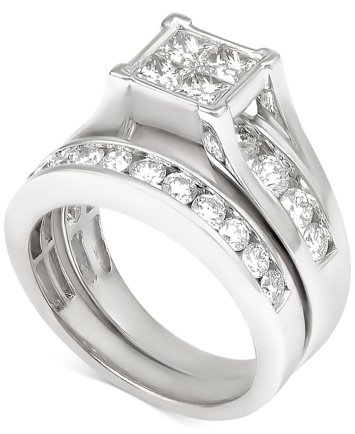 Diamond Quad Bridal Set 2 Ct T W In 14k White Gold White