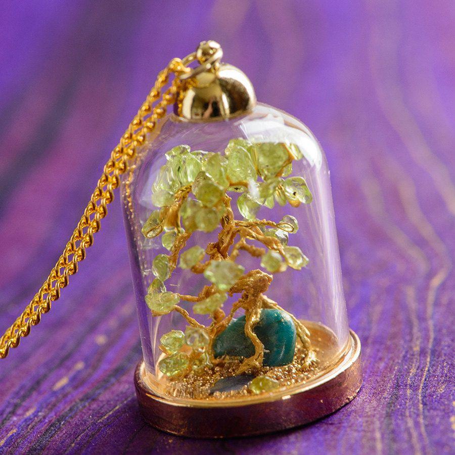 Peridot Bonsai Terrarium Necklace Miniature By Singlewhitepixel I Love This Bijoux Petite Bouteille Fiole