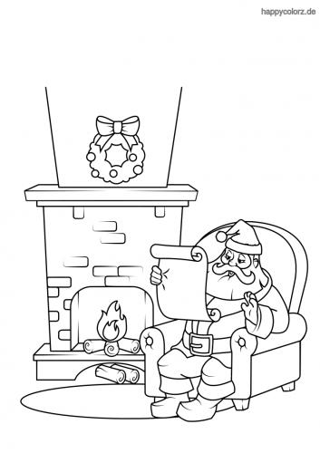 weihnachtsmann vor dem kamin malvorlage  ausmalbilder