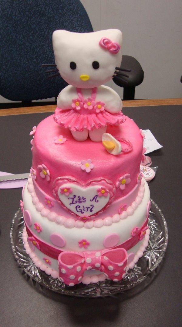 Hello Kitty Baby Shower Cake : hello, kitty, shower, Hello, Kitty,, Shower,, Pink,, Birthday, Shower, Kitty