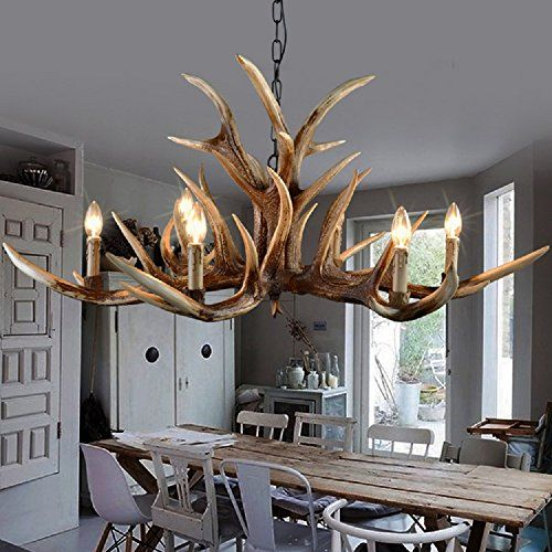 EFFORTINC Antlers vintage Style resin 6 light chandeliers American rural countryside antler chandeliersLiving roomBarCafe Dining room deer horn chandeliers >>> Click image for more details. (Note:Amazon affiliate link)