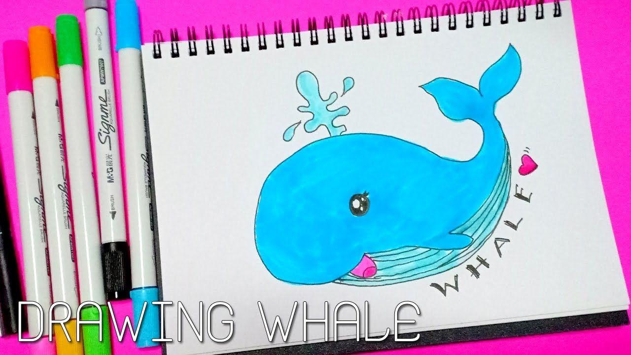 วาดการ ต น ปลาวาฬง ายๆ พร อมระบายส How To Draw A Whale น าร ก สไตล