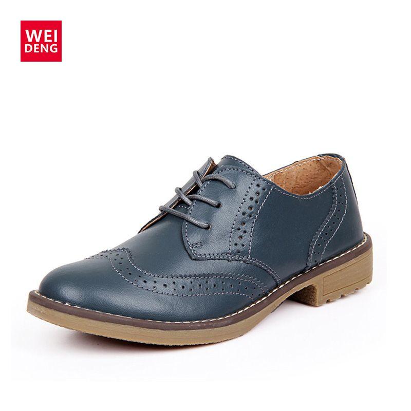 Pas cher WeiDeng Véritable En Cuir Femmes Richelieu à Lacets Vintage  Chaussures Classique Plat Faible Talons 74b2df0e92c2