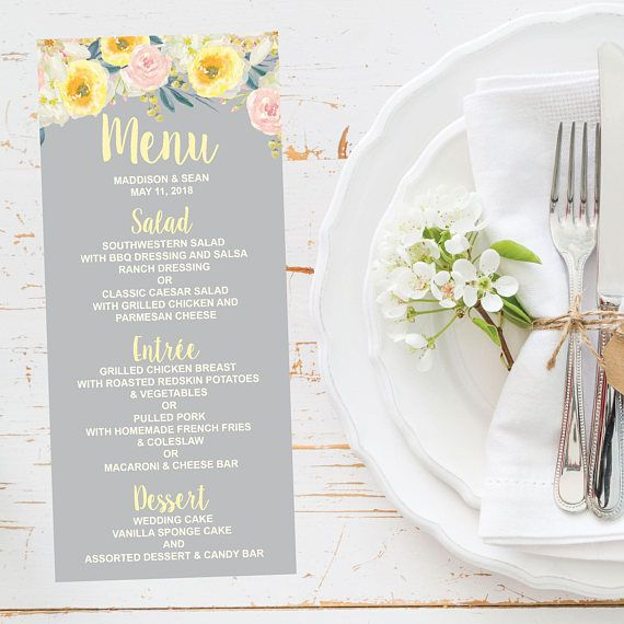 Floral Wedding Reception Menu Template Modern Spring Summer