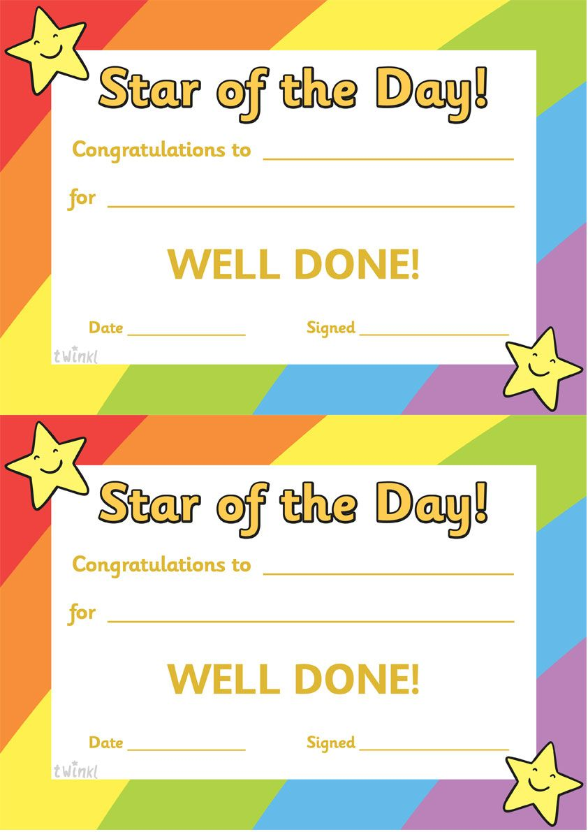 twinkl resources star of the day thousands of printable primary teaching resources for eyfs ks1 ks2 and beyond star of the day certificate