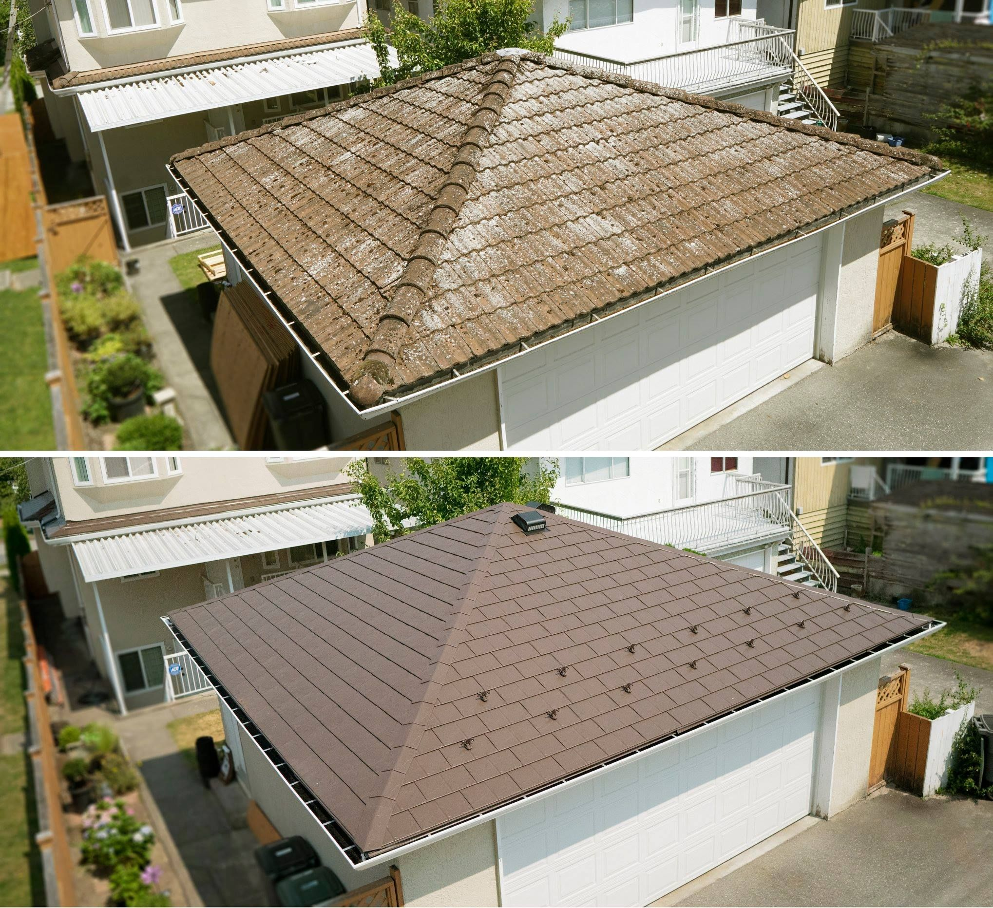Which Would You Rather Have Heavy Cement Tile That Needs Maintenance Or A Lightweight Aluminum Slate Look Metal Roofing Systems Metal Roof Outdoor Decor