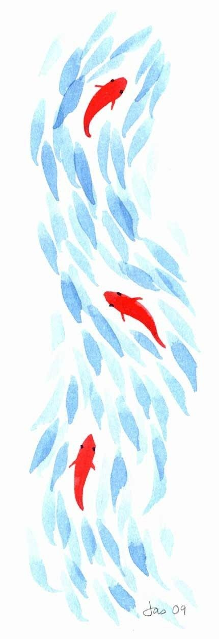 three koi by jasmine ray Something like this on the right batik fabric, embroider fish, maybe salmon