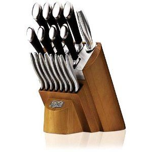 good kitchen knife set stainless steel carts fine dinning start with chicago cutlery fusion 18 piece professional high carbon forged blades black comfort grip poly