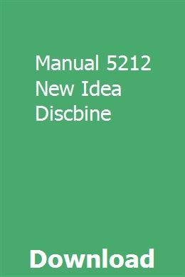 Manual 5212 New Idea Discbine | payrhizgabeds | Drivers