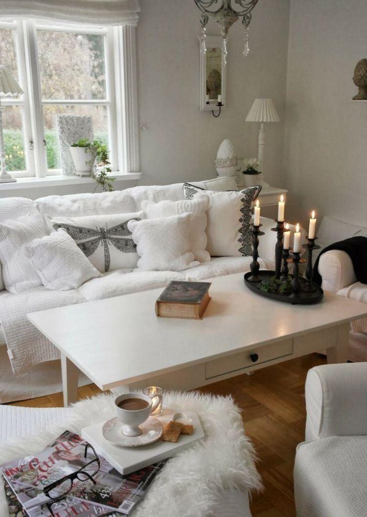 Idee Deco Salon Campagne déco et meubles shabby chic dans le salon – 55 idées vintage