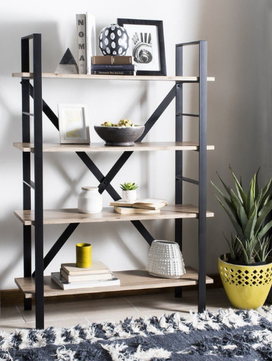 How To Style A Bookshelf Mix And Match Different Shapes Sizes Of Objects Achieve Balance This Modern Safavieh 4 Tier Is Great Starting