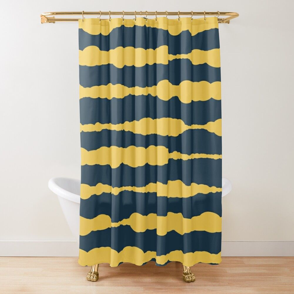Macrame Painted Stripes Pattern In Mustard Yellow And Navy Blue