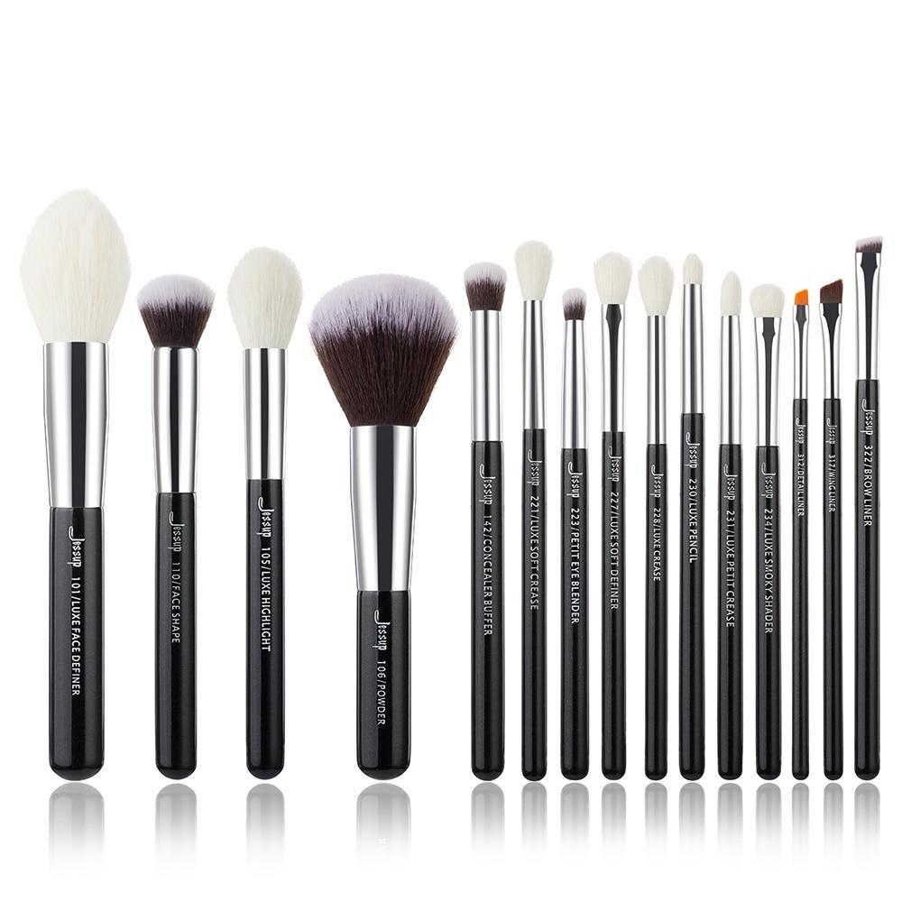 Photo of Jessup Makeup brushes set Black/Silver Professional with Natural Hair Foundation Powder Eyeshadow Make up Brush Blush 6pcs-25pcs – T182(15PCS) / Poland