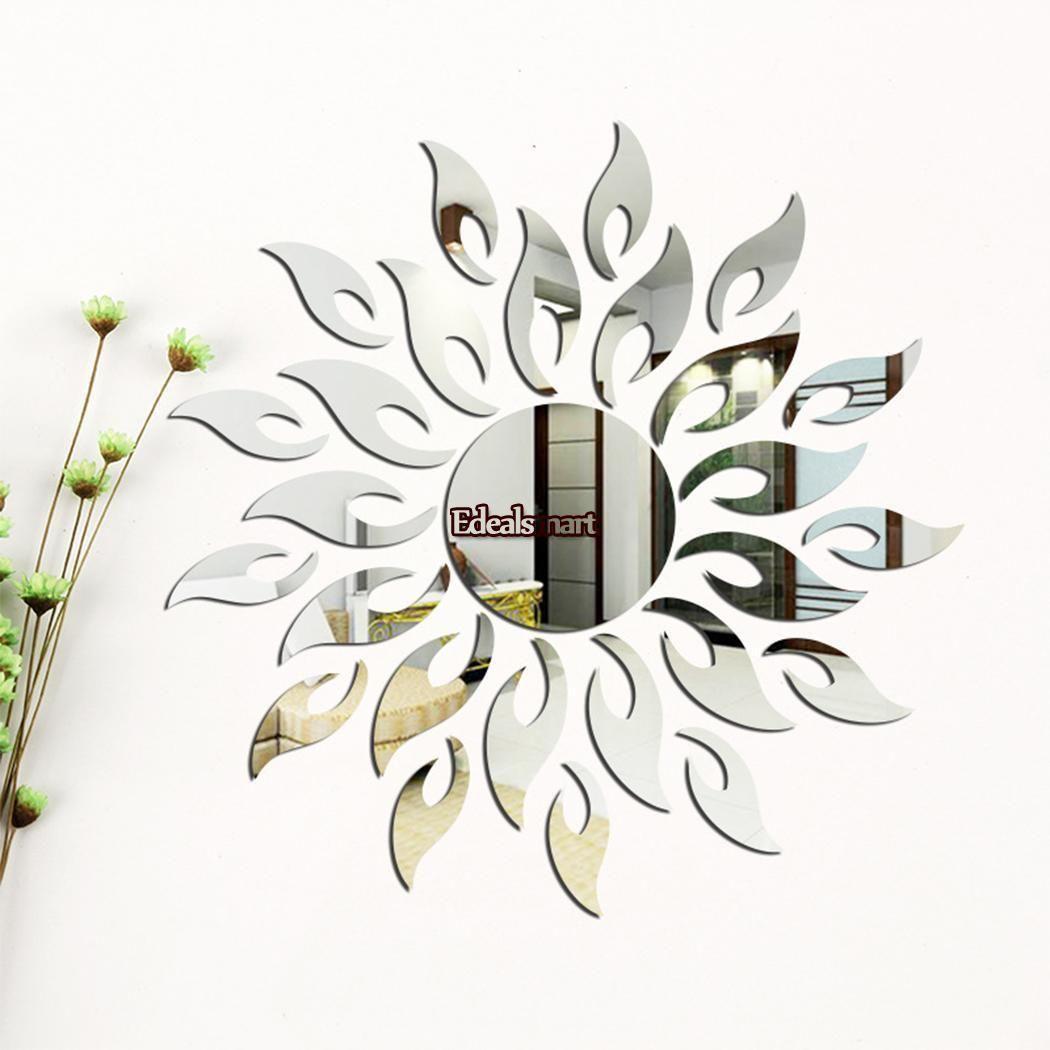 337 27 Pcs 3d Mirror Sun Art Removable Wall Sticker Acrylic