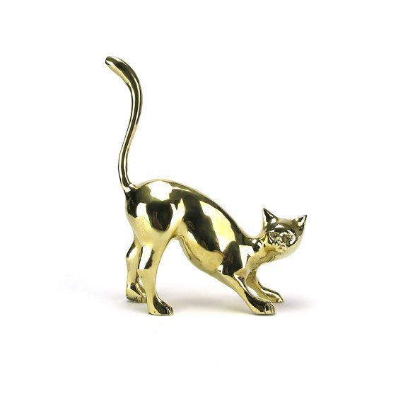 LARGE Vintage Brass Cat Figurine   Gold Kitty Kat Kitten Door Stop Statue    Baby Nursery
