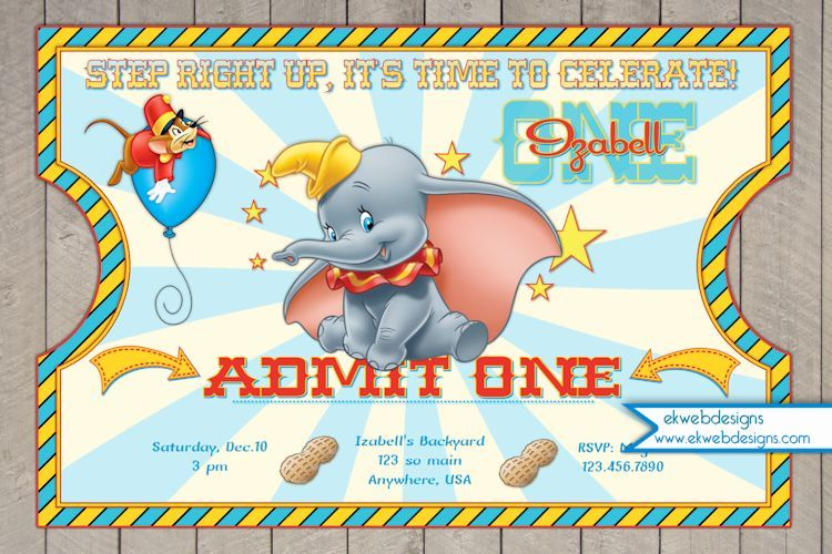 Dumbo Circus Ticket Style Birthday Invitations Dumbo