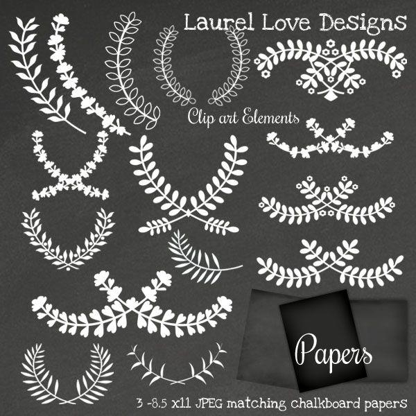 Laurel Chalkboard Digital Clip Art Set | Mygrafico ...