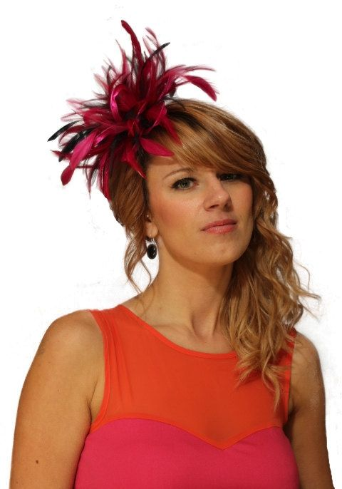 Hot Pink and Navy Blue Feather Fascinator Hat - wedding ed4674dd2b1