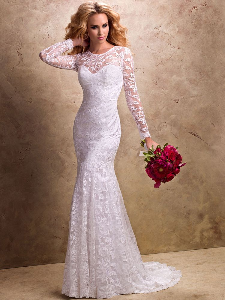 Trumpet/Mermaid Scoop Lace Satin Sweep Train White Draping Wedding Dresses at Millybridal.com