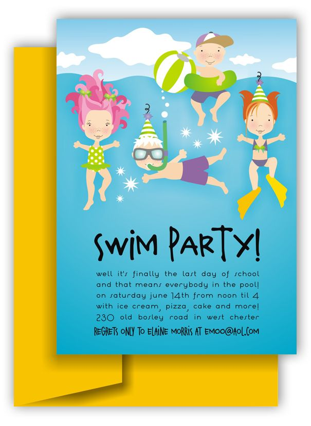 swim party invitations pool party kids
