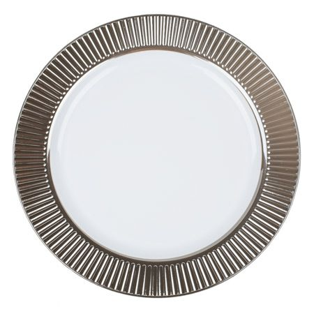 Save on nice fancy Celebration cute white with silver rim plastic china like salad plates that look pretty real for holiday catering \u0026 weddings on a budget  sc 1 st  Pinterest & Celebration Silver Rim Plastic Dinner Plates smartyhadaparty.com ...