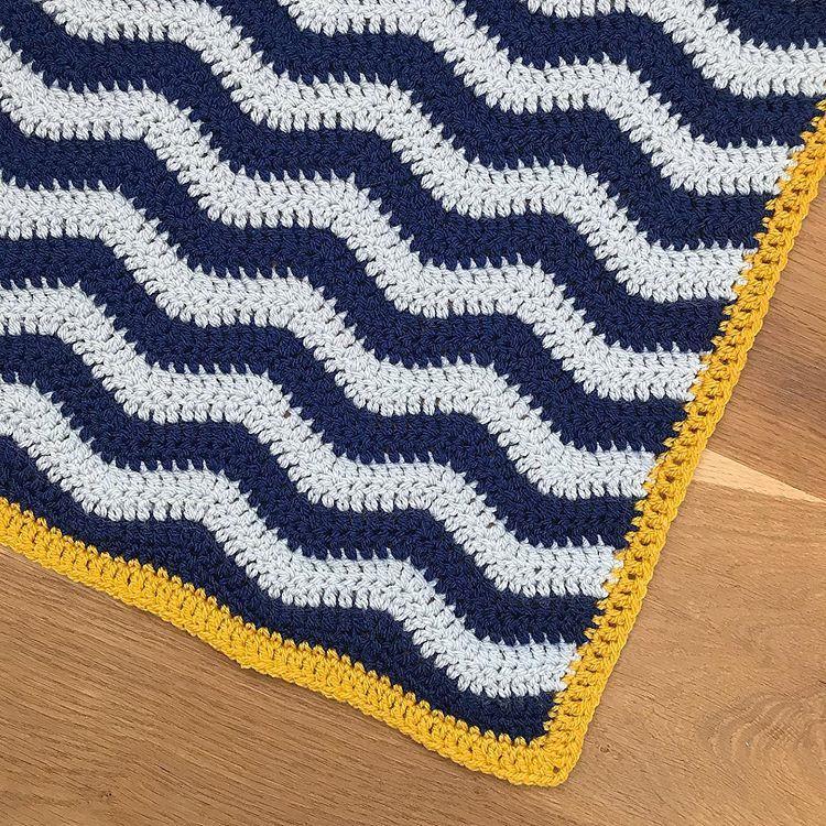 Mustard Grey And Navy Baby Blanket In Paintbox Aran Yarn Perfect Crochet Baby Blanket Blue Crochet Blanket Yellow Blankets Baby Knitting Patterns