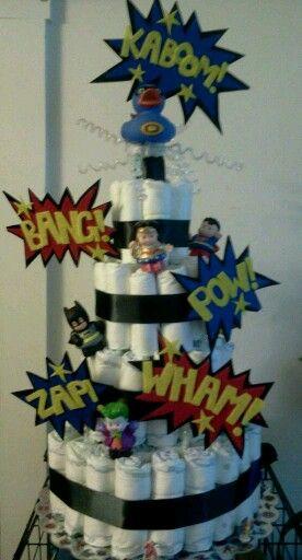 Super hero diaper cake made by me