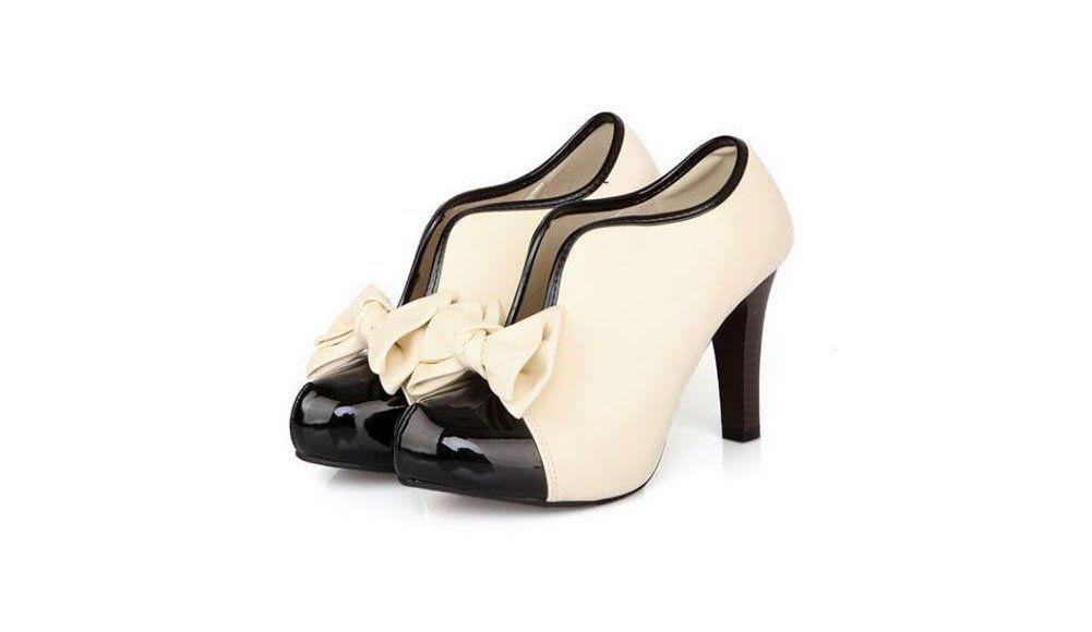 LATH.PIN Vintage Stiletto Platform Pumps stivaletti festa nuziale scarpe da sposa con l'arco