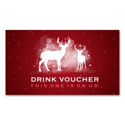 Elegant drink voucher winter deer sparkle red business card template elegant drink voucher winter deer sparkle red business card template make your own business card with this great design all you need is to add your info reheart Gallery