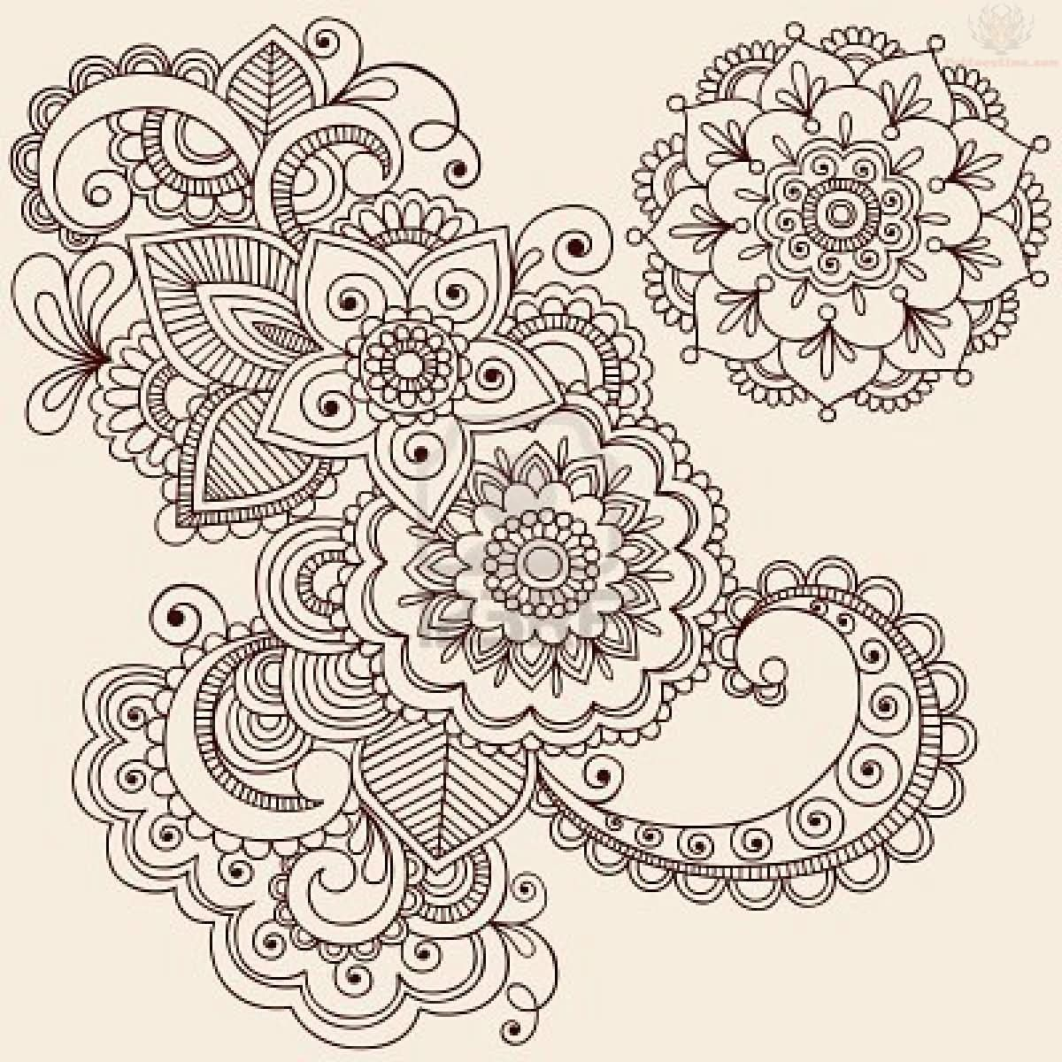 Paisley Pattern Tattoo Images Designs: Flowers Paisley Pattern Tattoo Designs