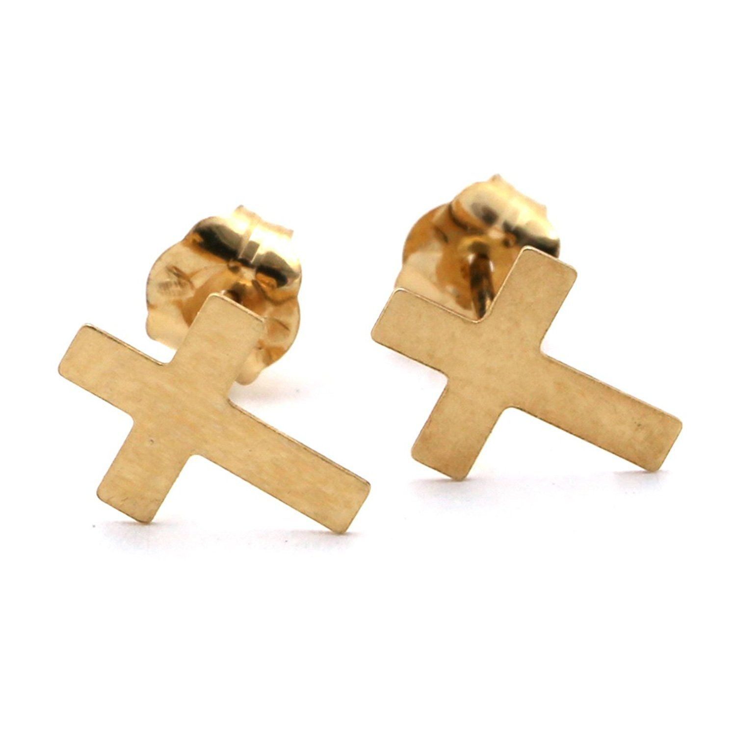 earrings small img stud simple in products shaped light original dotoly gold cross